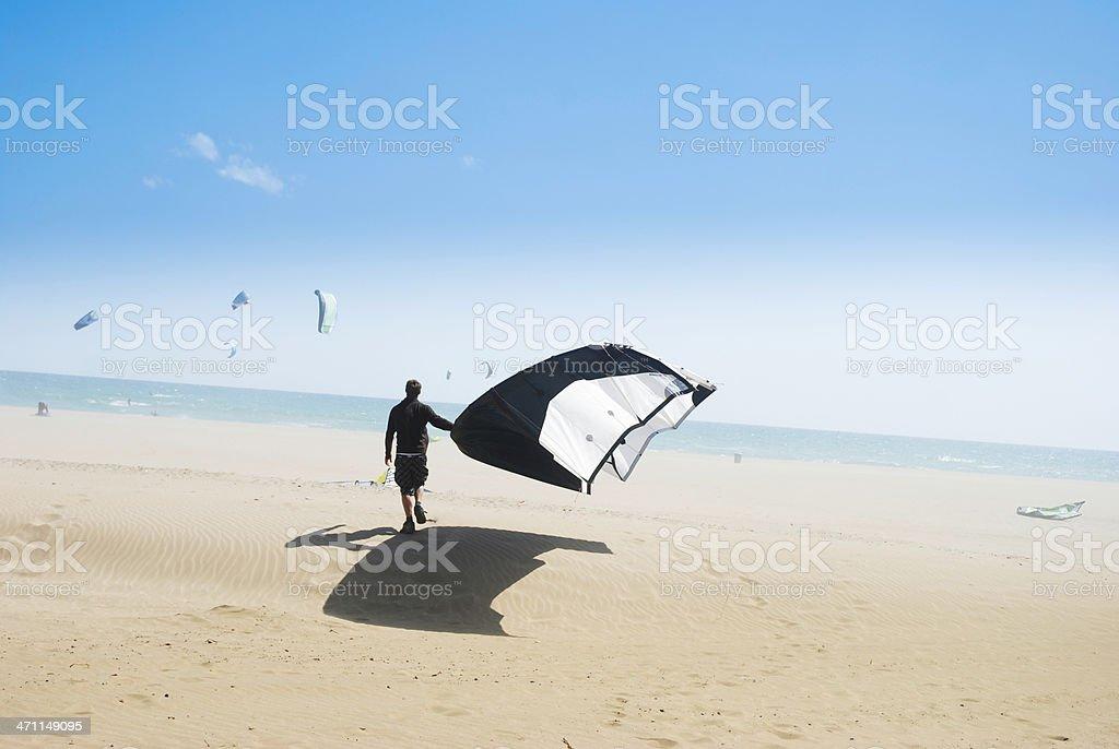 Kite boarding stock photo