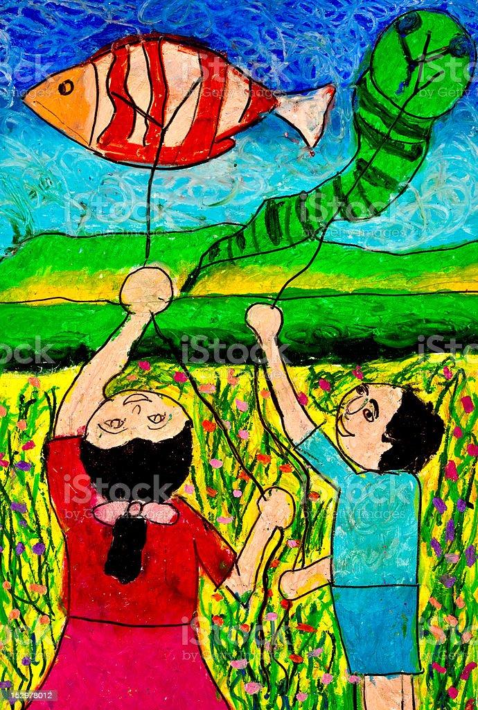 Kite Playing royalty-free stock photo