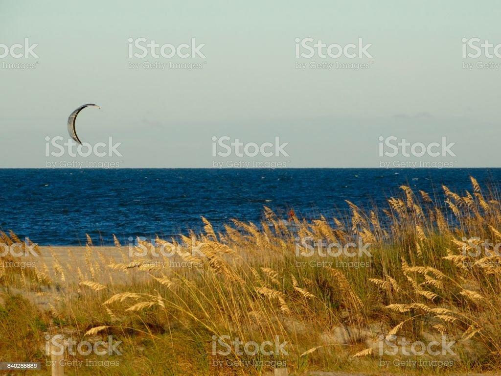 Kite sailing at Tybee stock photo