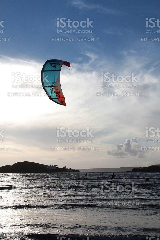 Kite Surfer al tramonto foto stock royalty-free