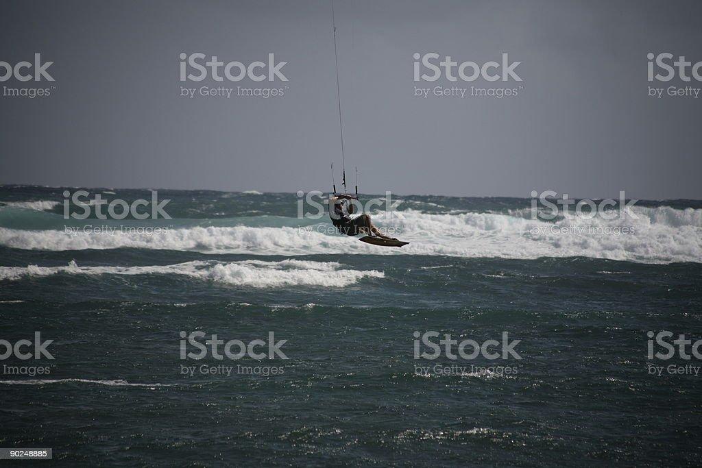 Kite surfer busting big air 2 royalty-free stock photo