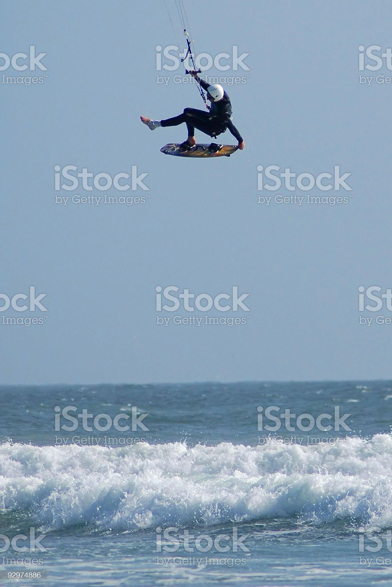 Kite Surfer Defying Gravity royalty-free stock photo
