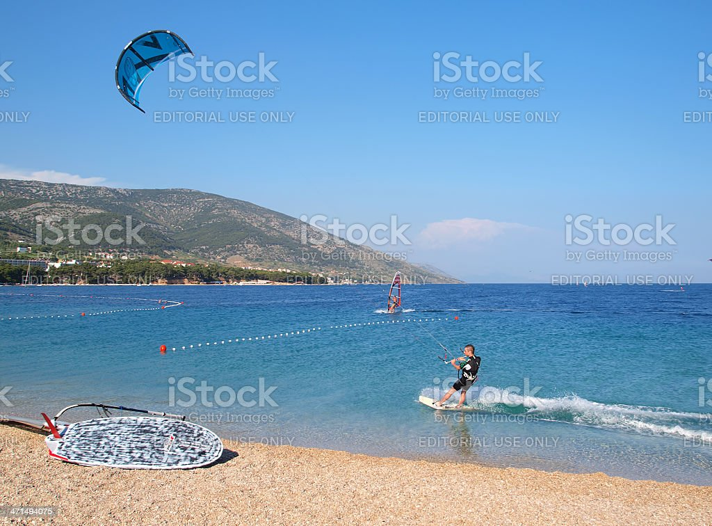 Kite surfer in action royalty-free stock photo