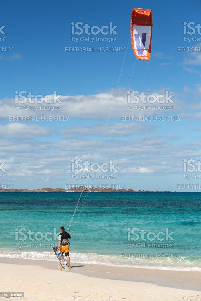 Kite surfer in the beaches of Fuerteventura, Spain stock photo