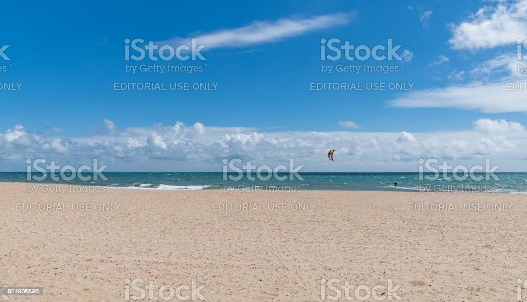 Kite Surfer on Bournemouth Beach stock photo