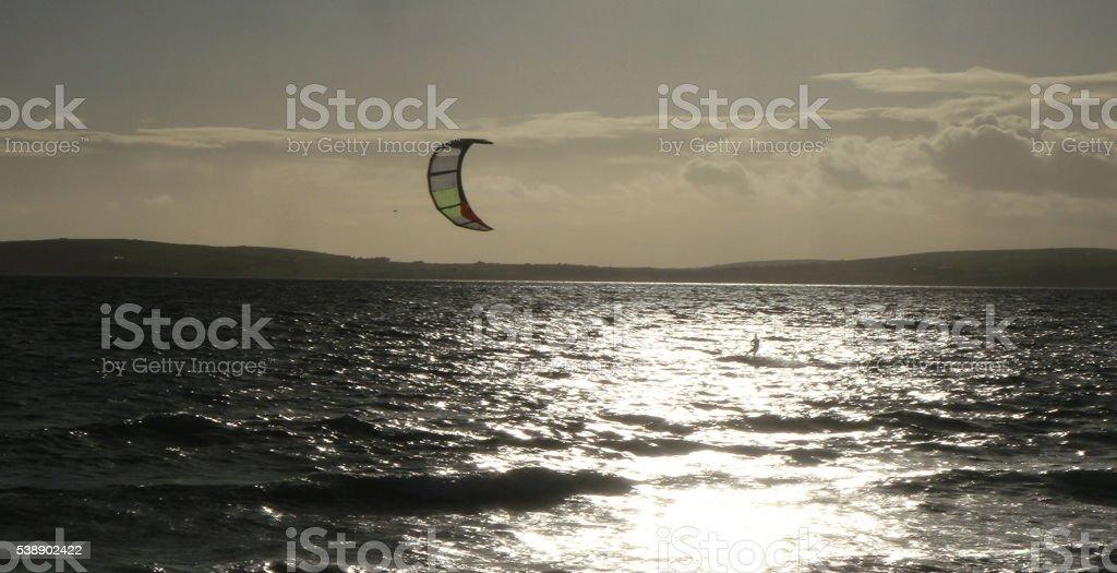 Kite surfer on the Irish sea stock photo