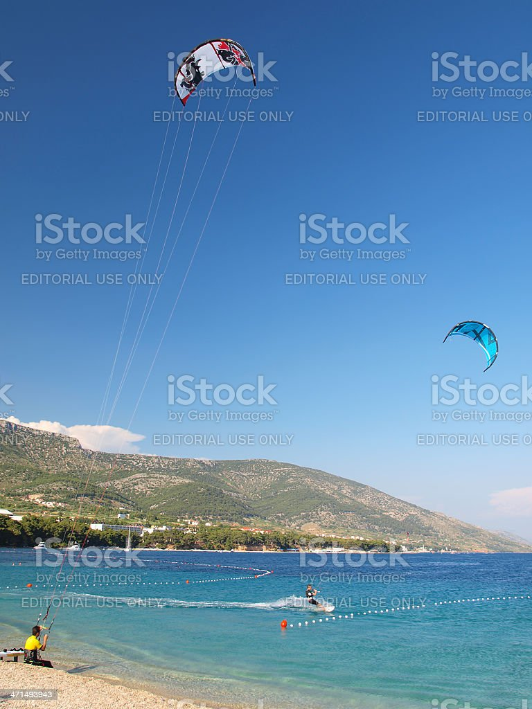 Kite surfers in action royalty-free stock photo