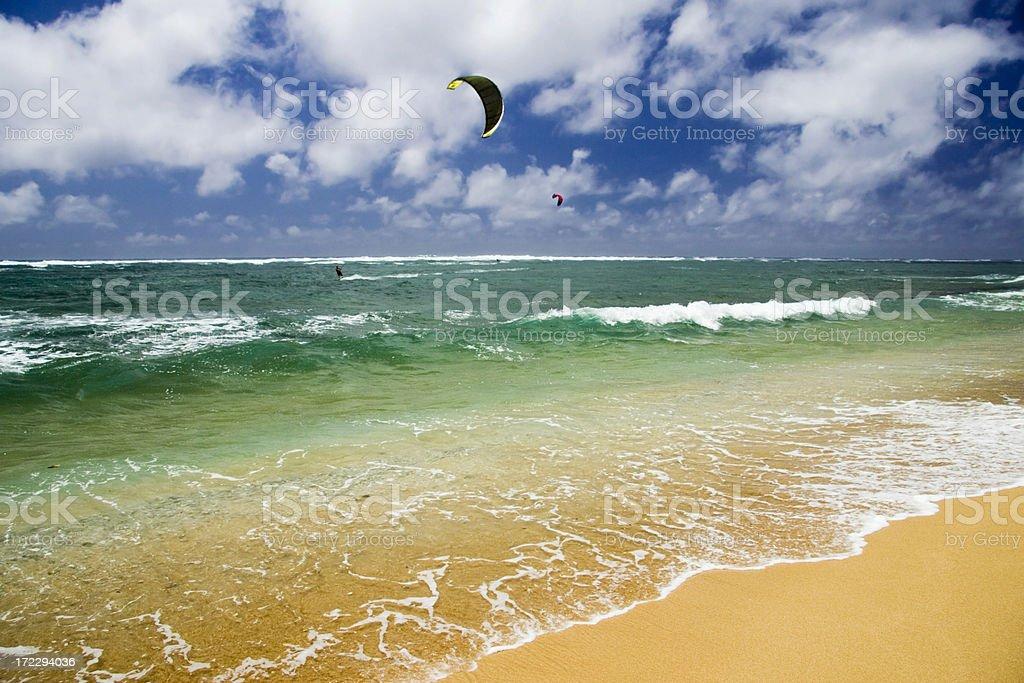 Kite Surfers on Kauai Beach royalty-free stock photo