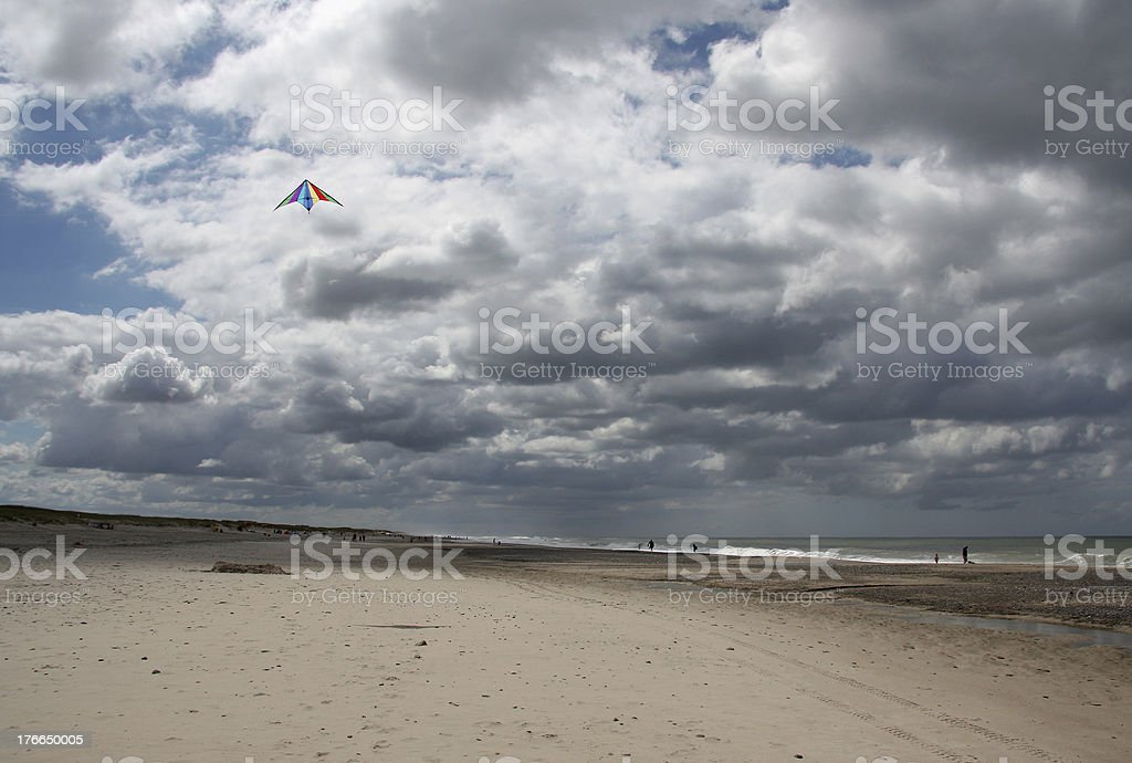 Kite surfing at beach of North Sea, Denmark royalty-free stock photo