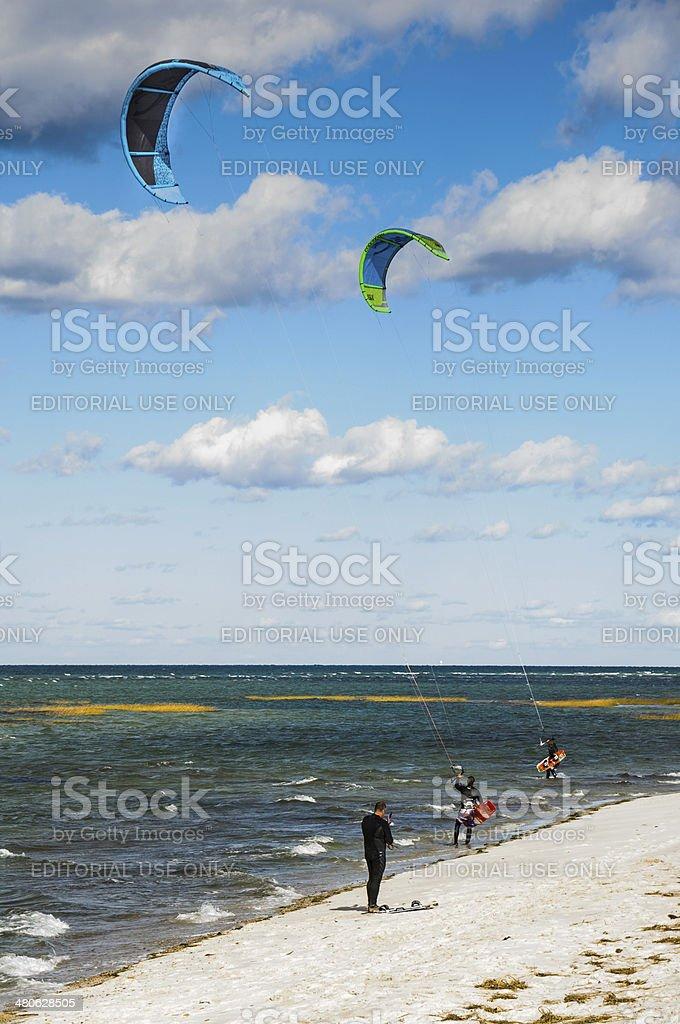 Kite Surfing Cape Cod stock photo