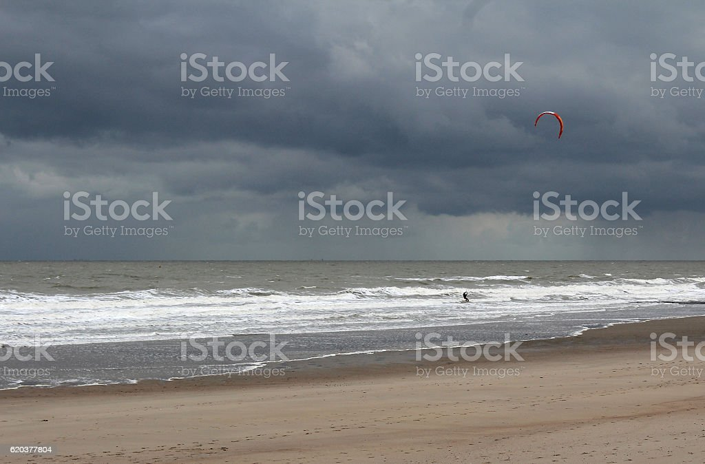 Kite Surfing in a storm stock photo