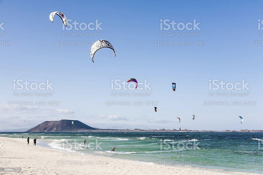 Kite surfing in Fuerteventura royalty-free stock photo