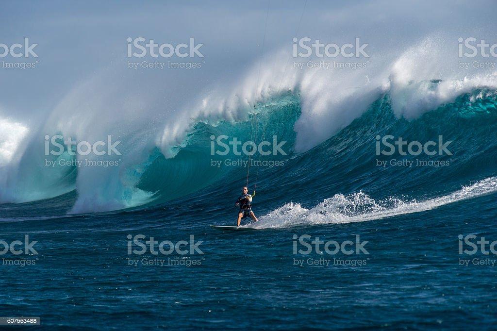 Kite Surfing in Mauritius stock photo