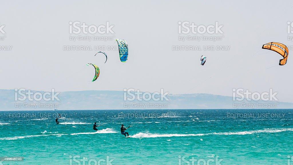 Kite surfing in Tarifa, Spain. stock photo
