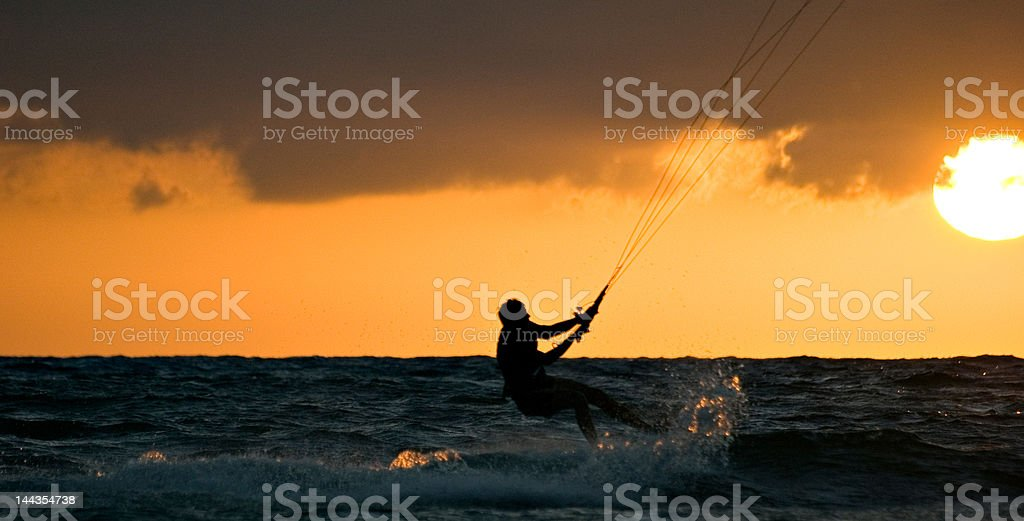 Kite surfing in Wales royalty-free stock photo