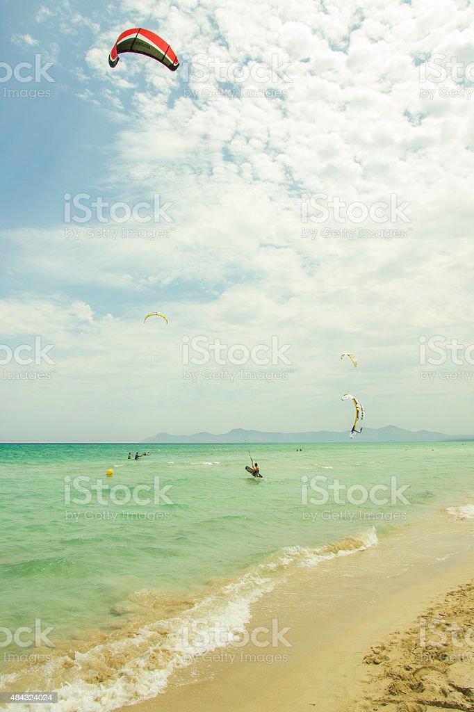 Kite Surfing Majorca Alcudia Beach stock photo