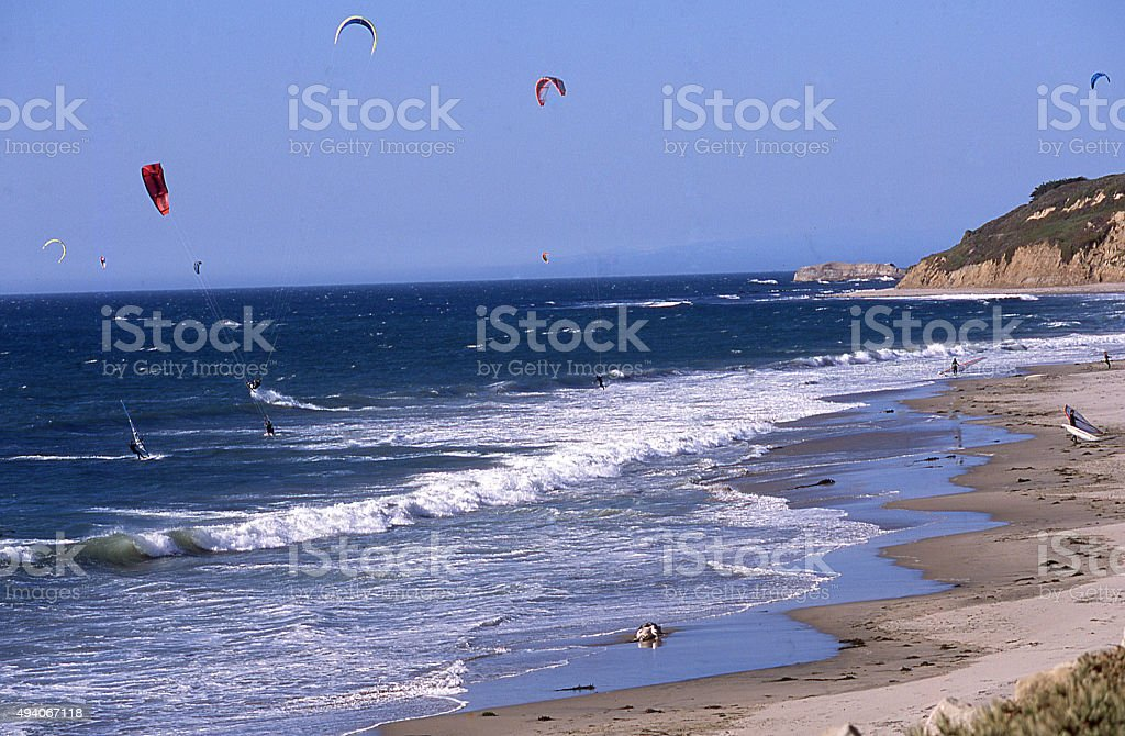 Kite Surfing Pacific Coast south of Half Moon Bay California stock photo