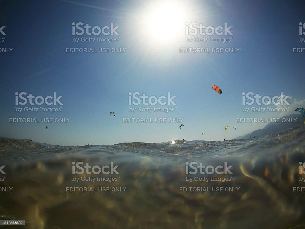 Kite zone in Dahab, Egypt. stock photo