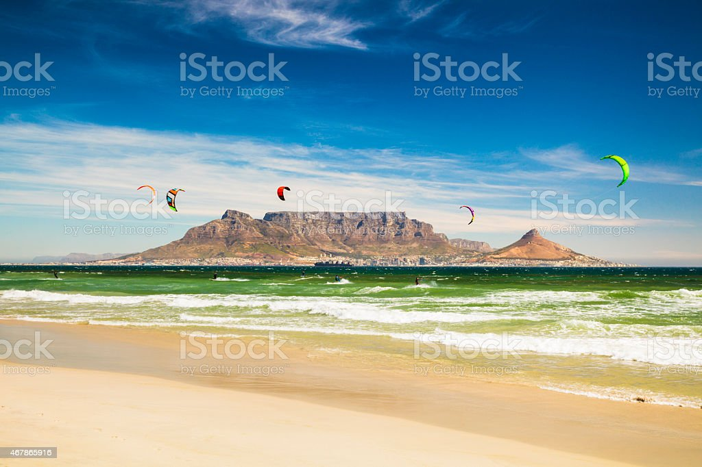 Kitebarding near Table Mountain and Cape Town in South Africa stock photo