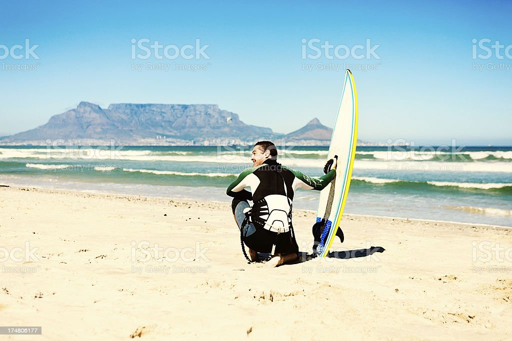 Kiteboarding in Cape Town with Table Mountain as backdrop royalty-free stock photo