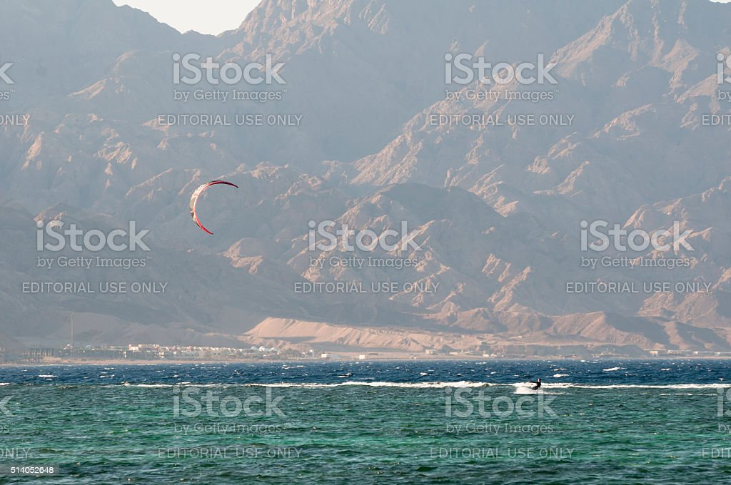 Kiteboarding in Dahab, Sinai, Egypt stock photo