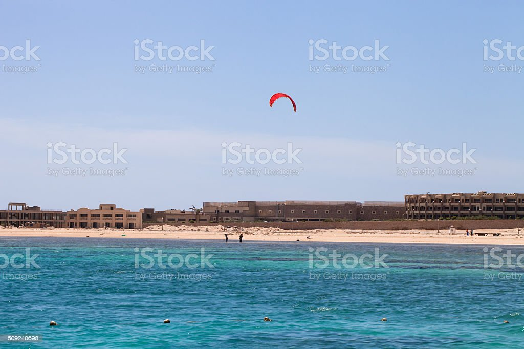 Kiter in the lagoon of the Red Sea stock photo