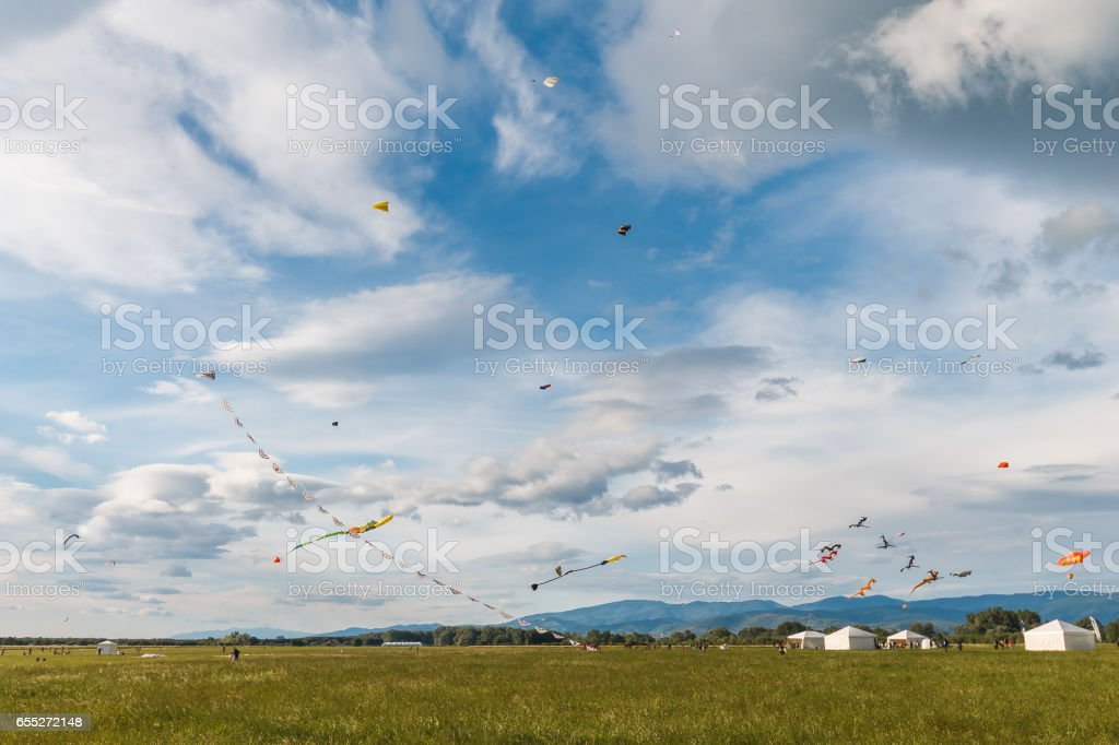 Kites and clouds stock photo