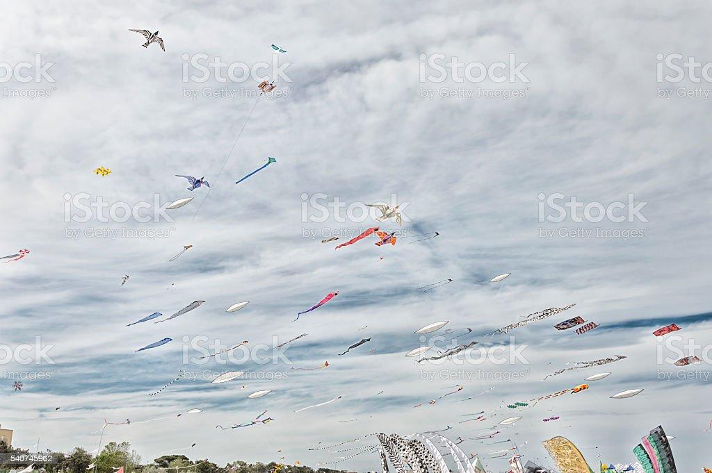 Kites in the sky stock photo