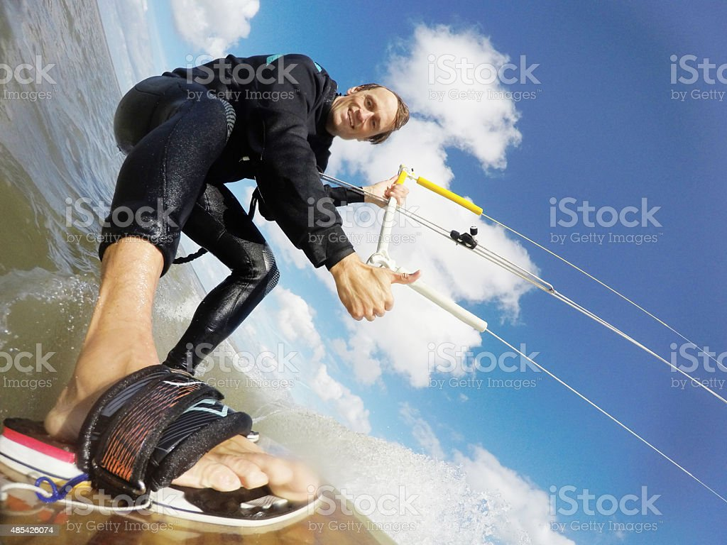 Kitesurfaction in North sea of St.Peter-Ording, Germany, GoPro image stock photo