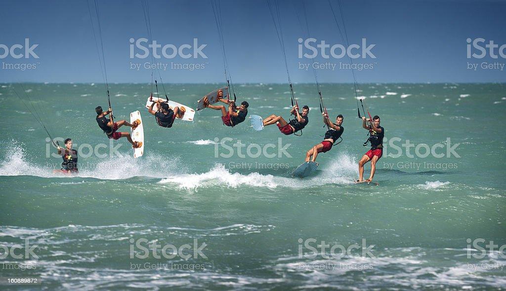 Kitesurfer Back Roll / Loop Sequence stock photo