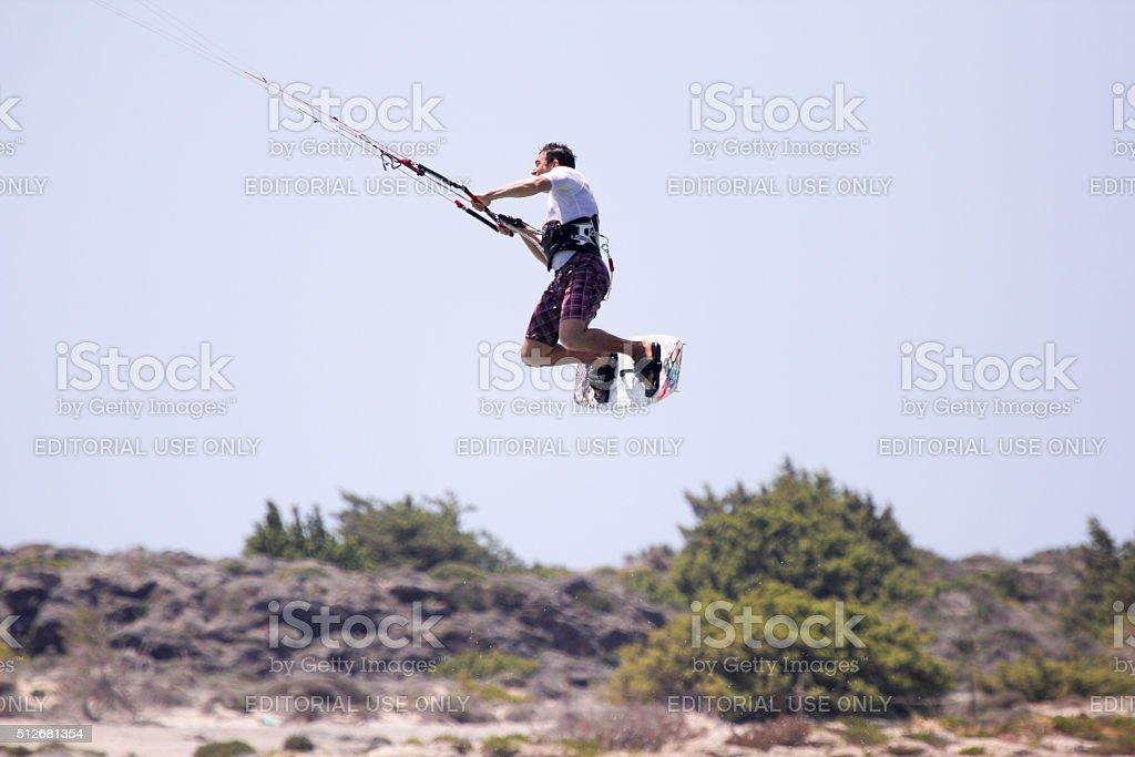 Kite-surfer in Elafonisi, Greece stock photo