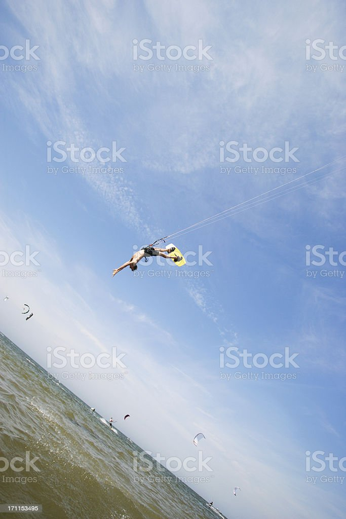 Kitesurfer in the air stock photo