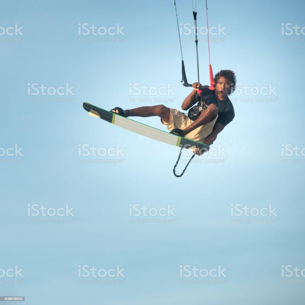 Kitesurfer Jump, Extreme Air stock photo