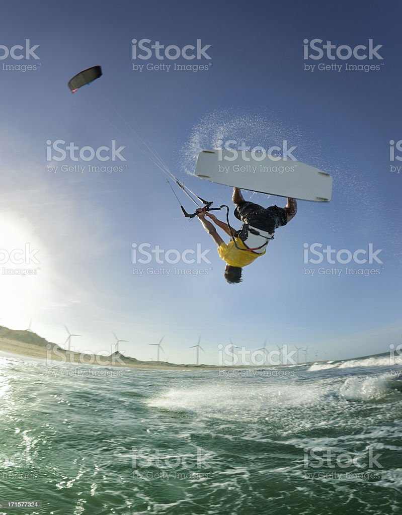Kitesurfer Jump stock photo