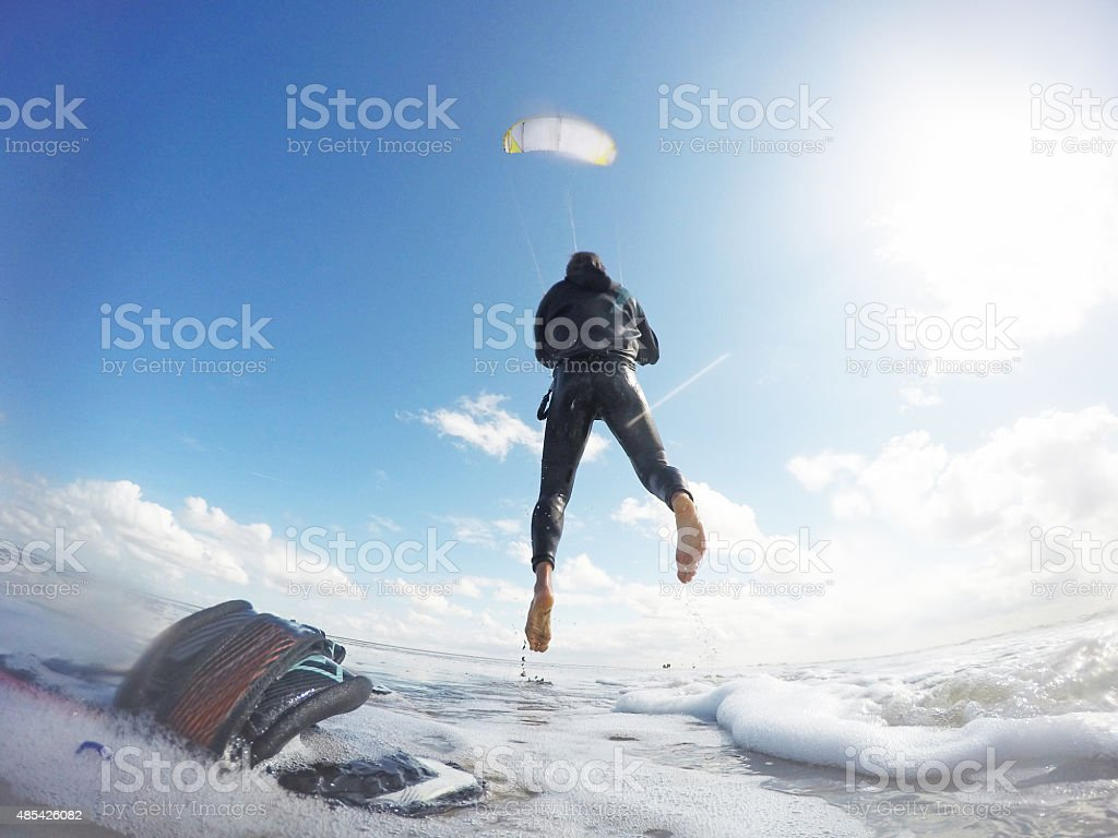 Kitesurfer launching in St.Peter-Ording, Germany, GoPro image stock photo
