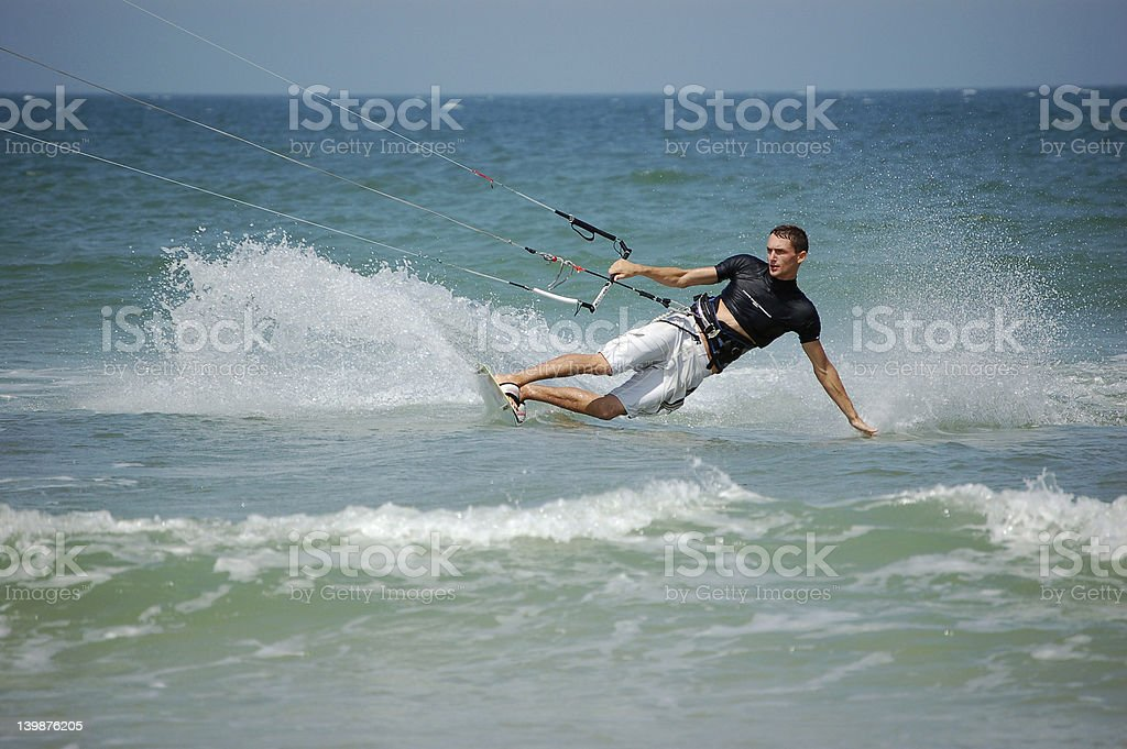 Kitesurfer turning the corner royalty-free stock photo