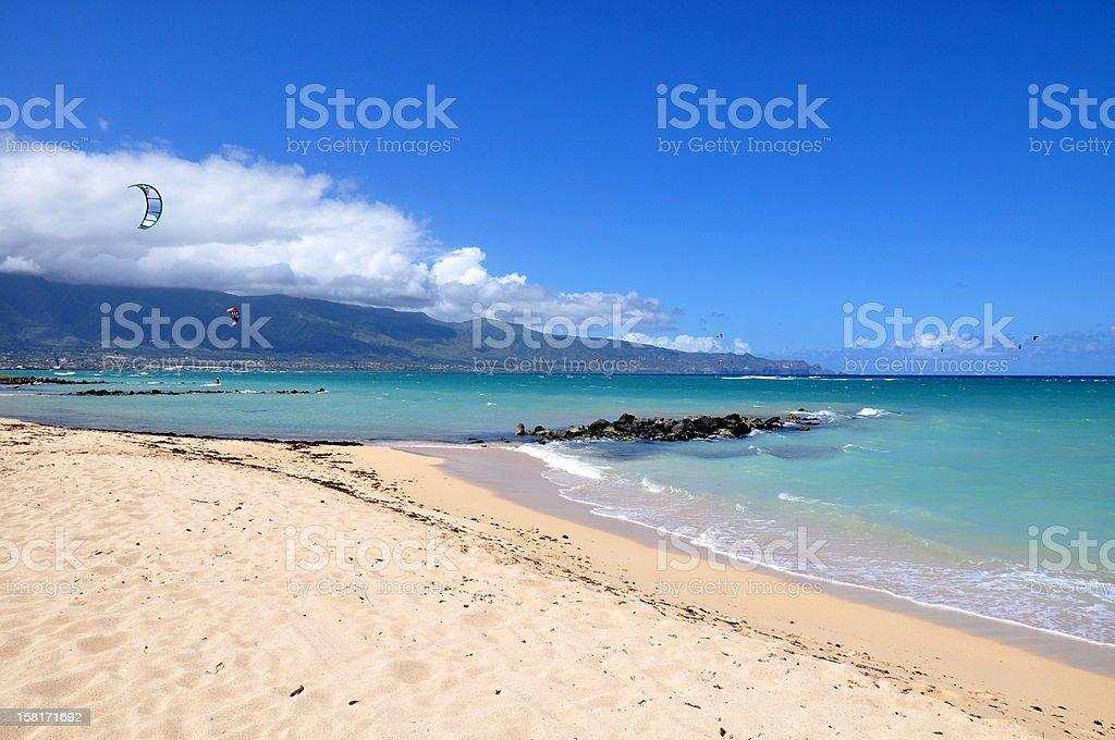 Kitesurfers at Kanaha Beach - Maui, Hawaii stock photo