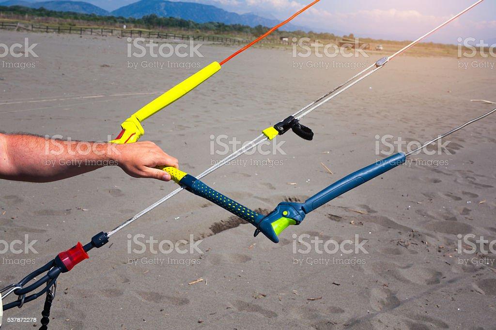 Kitesurfing action on the beach stock photo