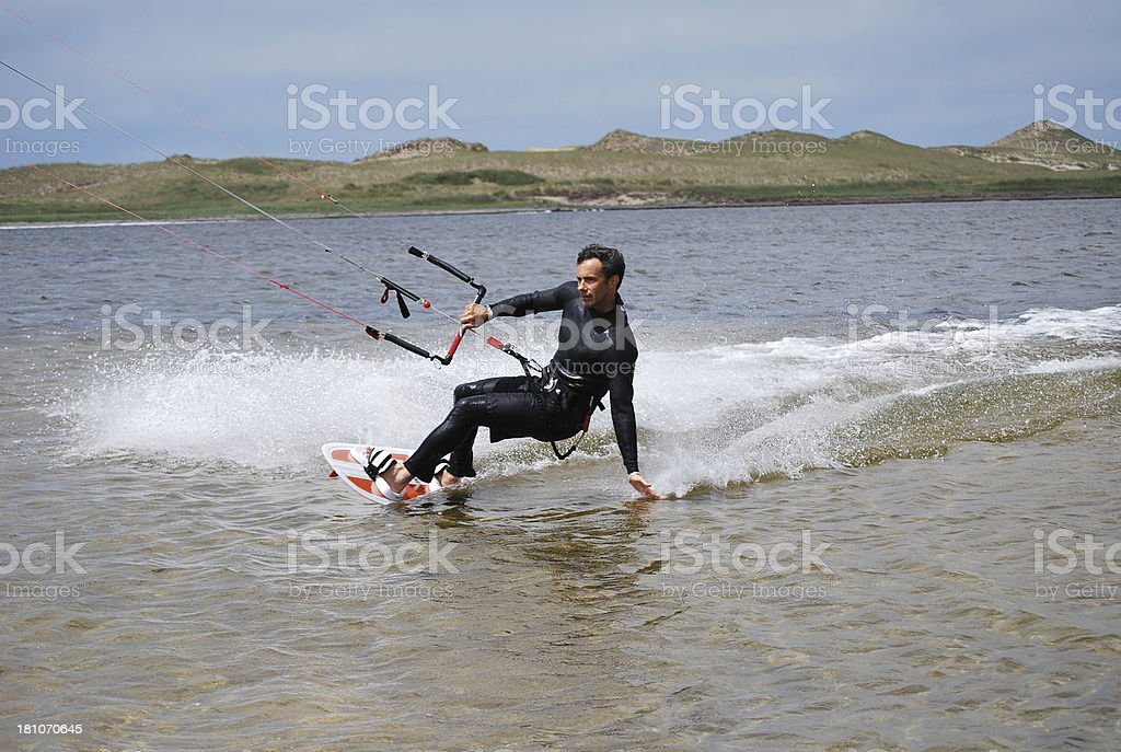 Kitesurfing in Magdalen Islands,Quebec royalty-free stock photo