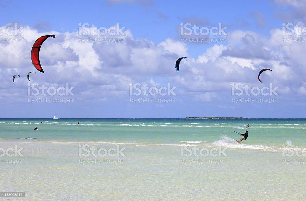 Kitesurfing on the coast of Cuba. stock photo