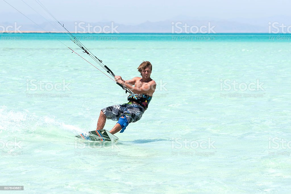kiting at the red sea stock photo