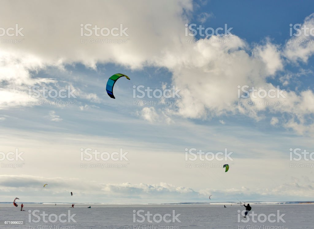 kiting in the snow. stock photo