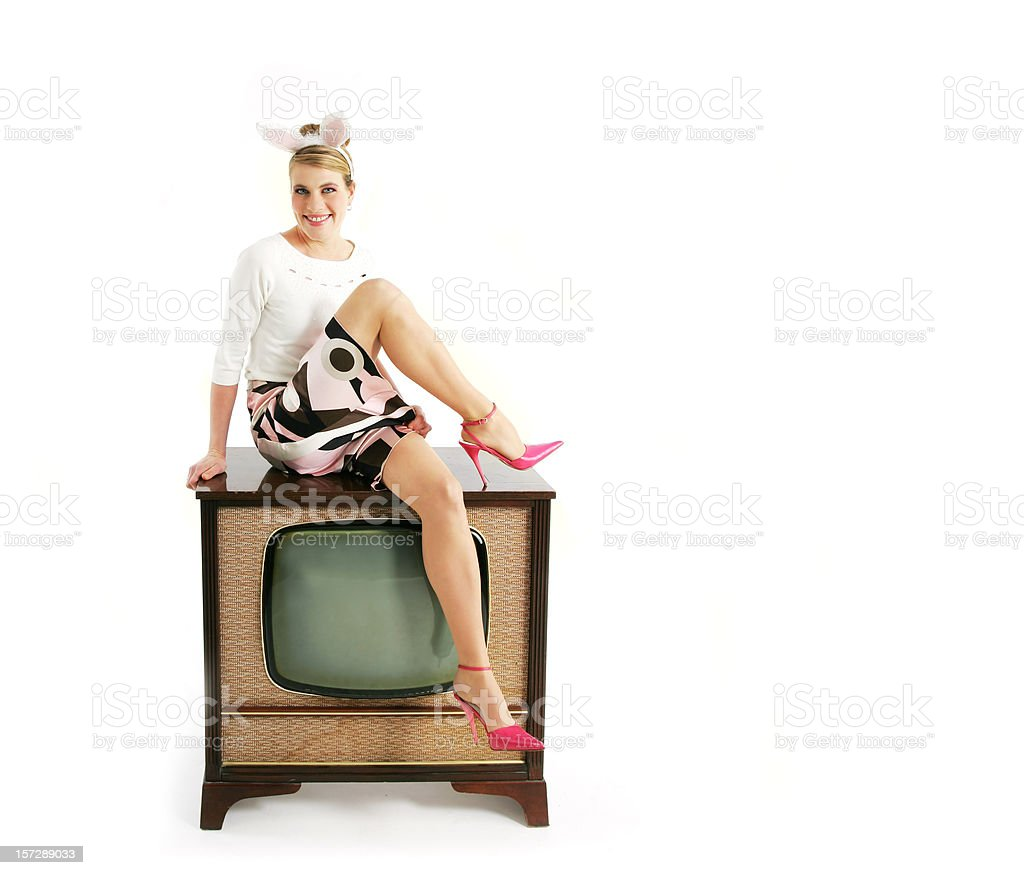 Kitsch series : Bunny on a TV royalty-free stock photo