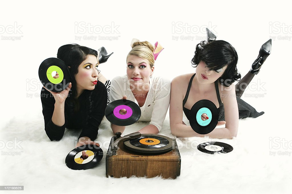 Kitsch series : Women listening to records royalty-free stock photo