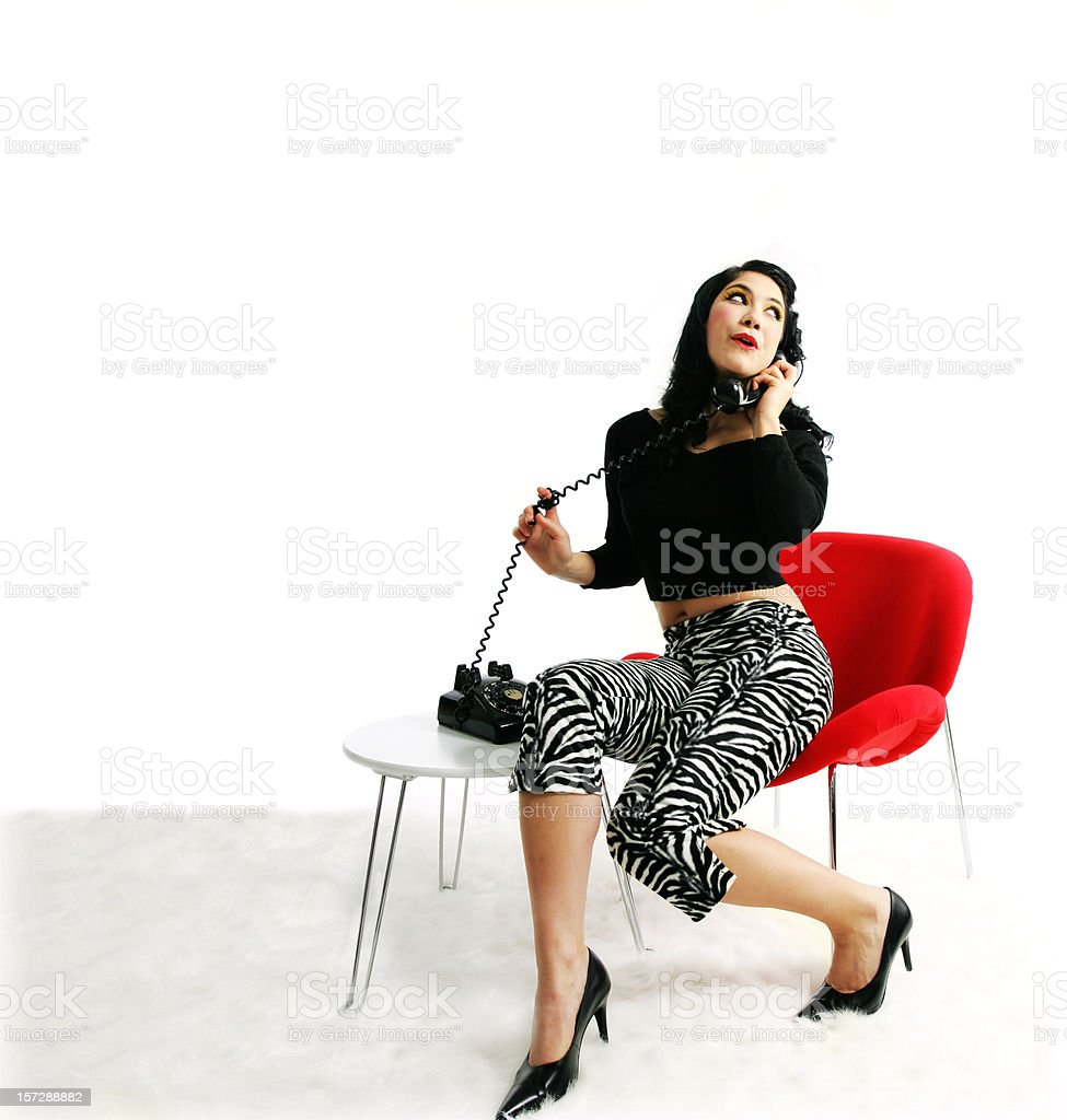 Kitsch series : Young woman on phone royalty-free stock photo