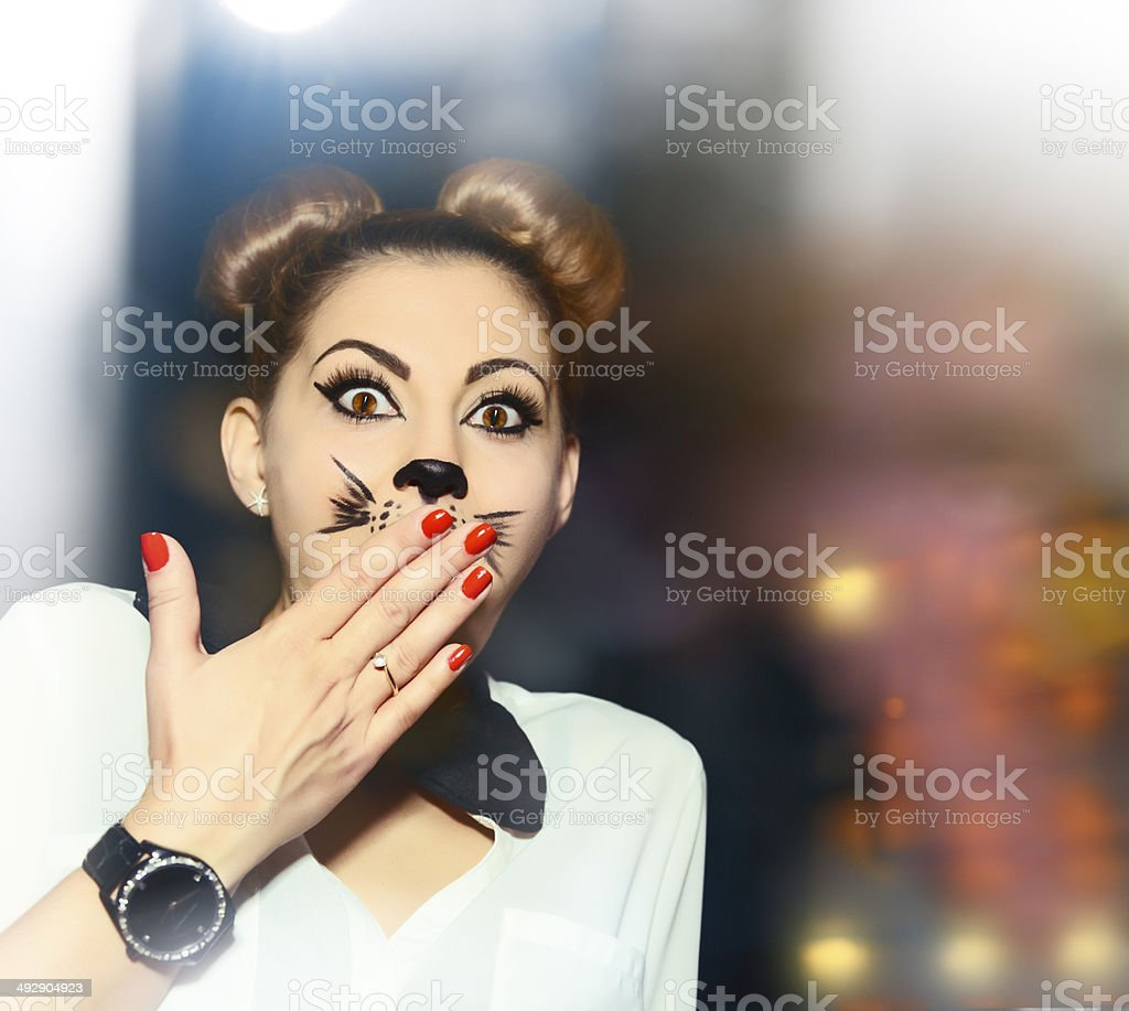 kitty woman being amazed royalty-free stock photo
