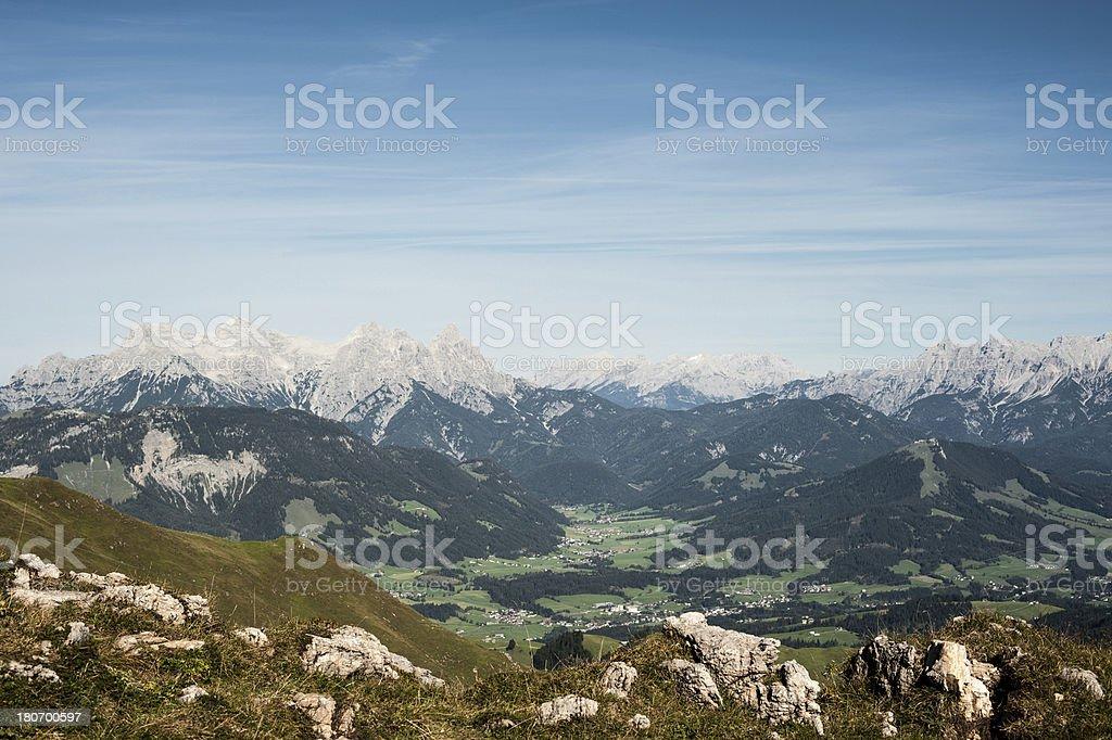 Kitzbueheler Horn view to Fieberbrunn royalty-free stock photo