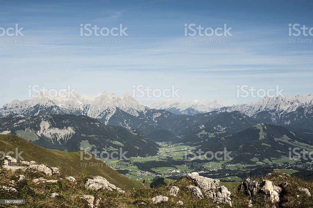 Kitzbueheler Horn view to Fieberbrunn stock photo