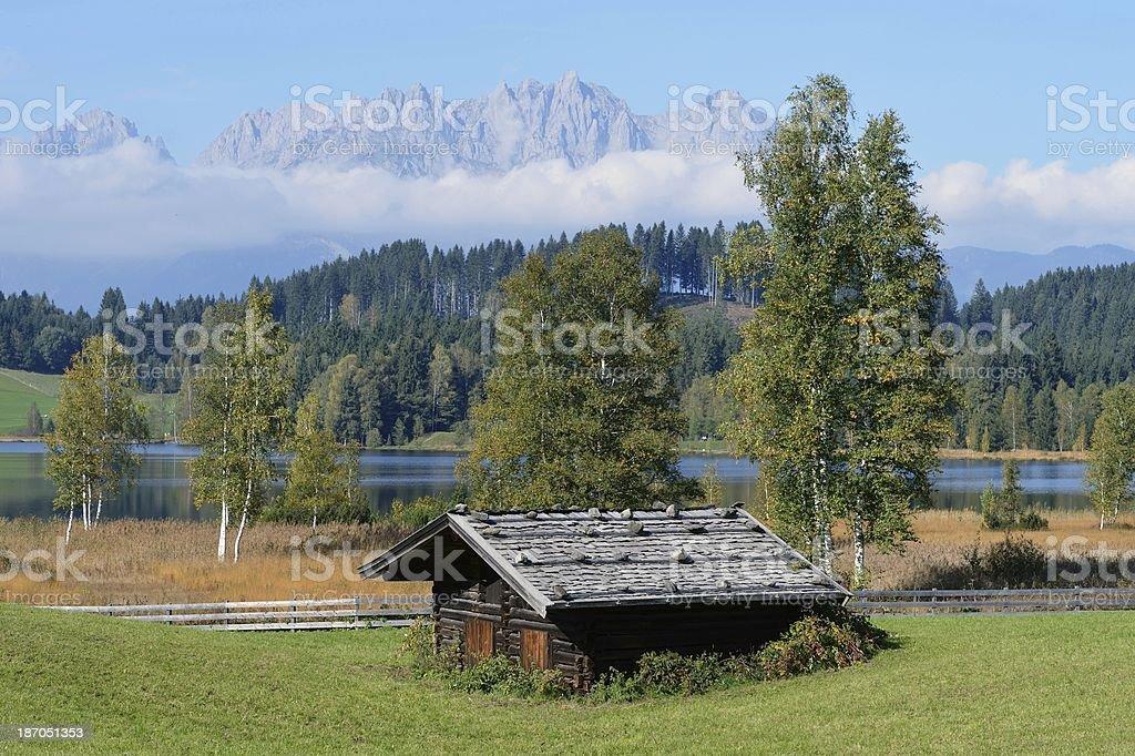 Kitzbuhel hut with Wilder Kaiser Mountains stock photo