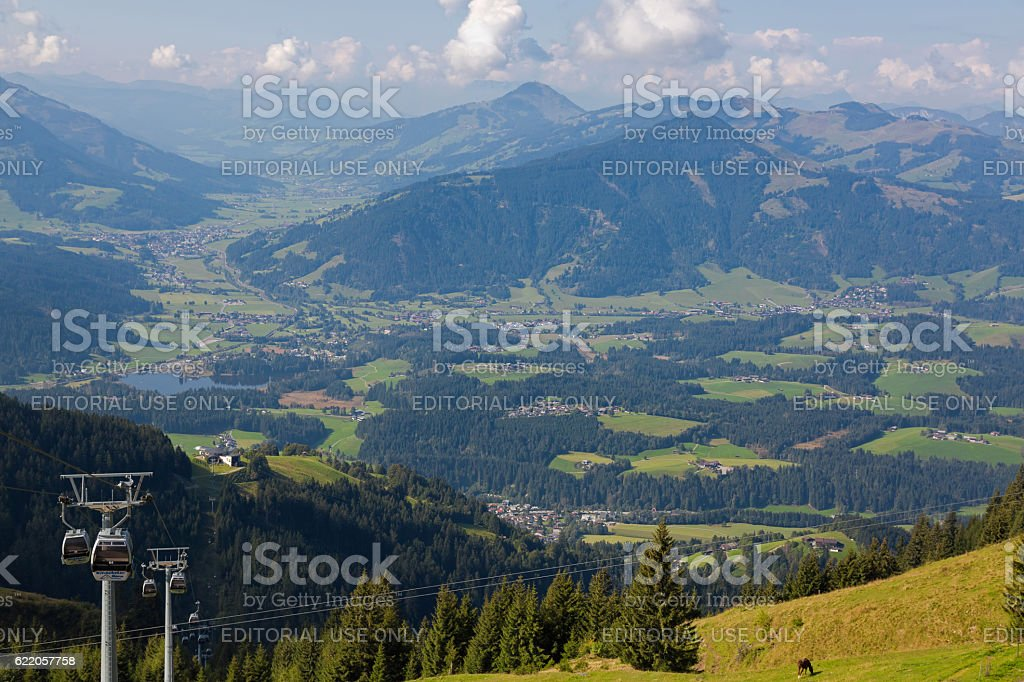 Kitzbuheler Hornbahn cablecar with view of valley, mountains, Schwarzsee lake stock photo
